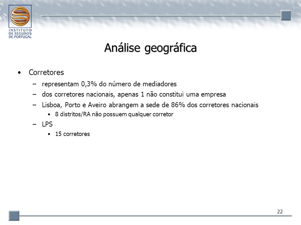 Análise geográfica Corretores representam 0,3% do número de mediadores