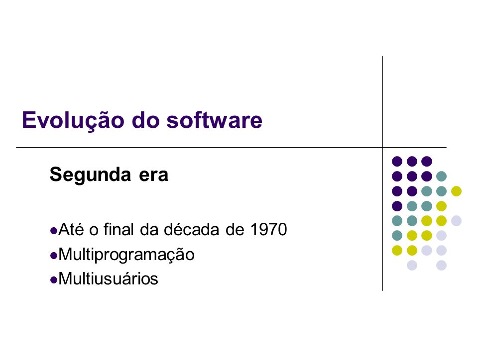 Evolução do software Segunda era Até o final da década de 1970