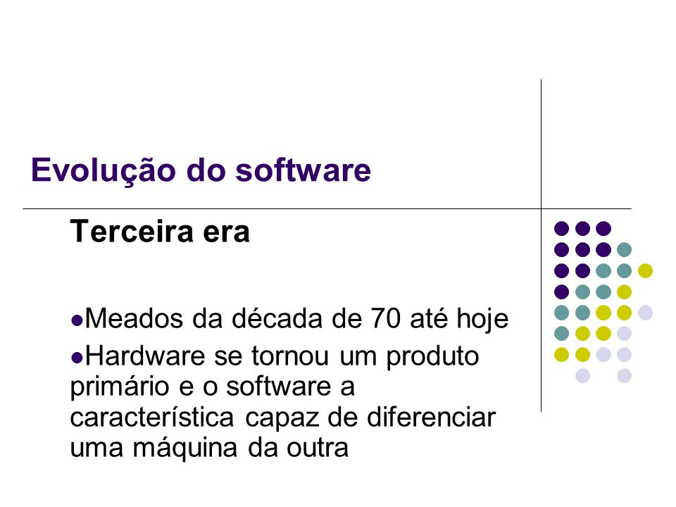 Evolução do software Terceira era Meados da década de 70 até hoje