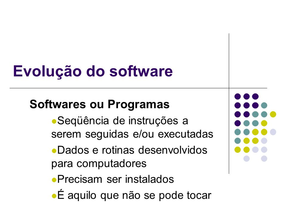 Evolução do software Softwares ou Programas