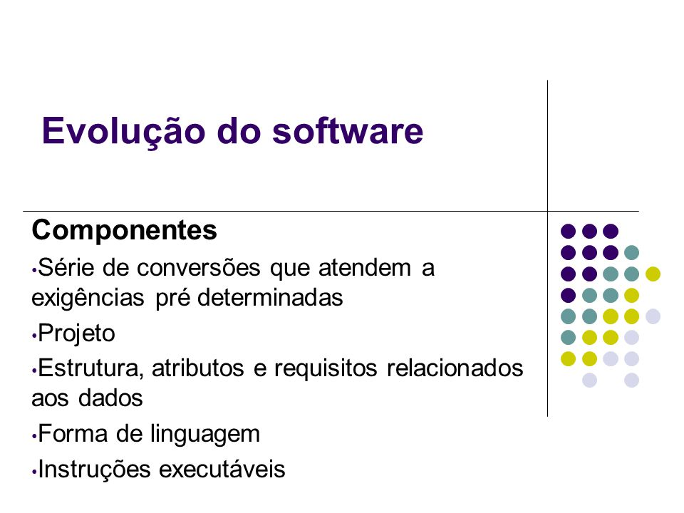 Evolução do software Componentes