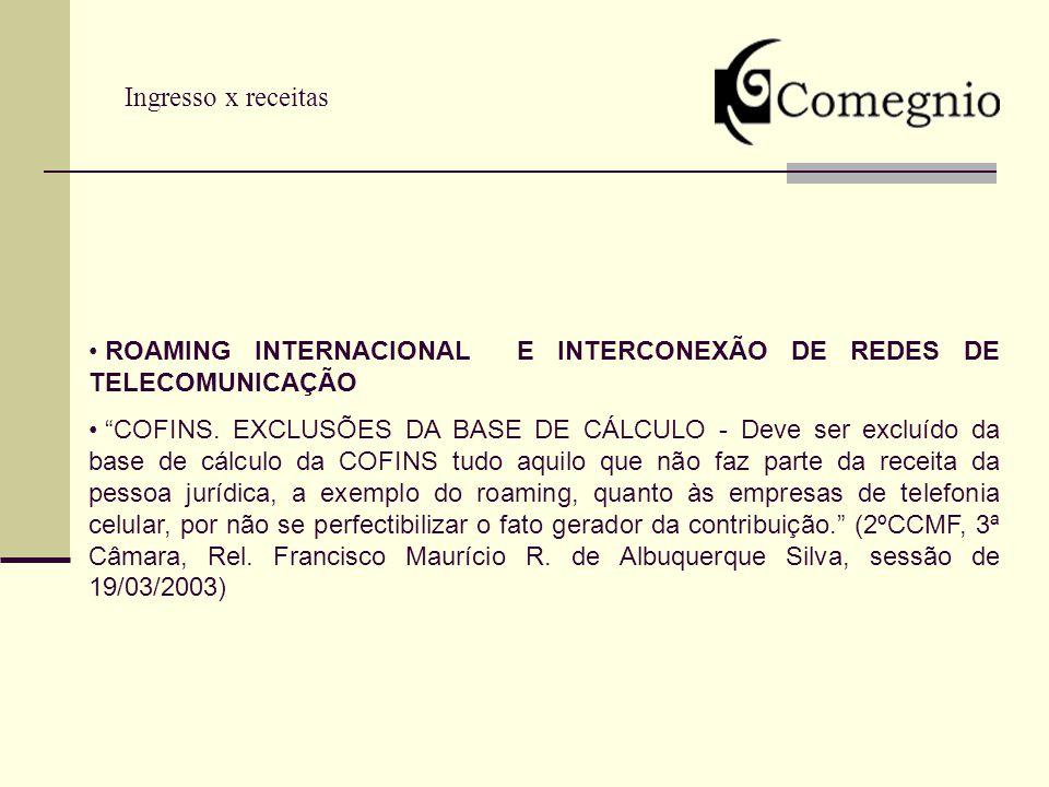 Ingresso x receitas ROAMING INTERNACIONAL E INTERCONEXÃO DE REDES DE TELECOMUNICAÇÃO.