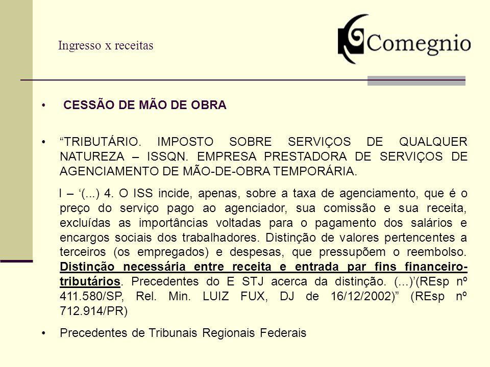 Ingresso x receitas CESSÃO DE MÃO DE OBRA