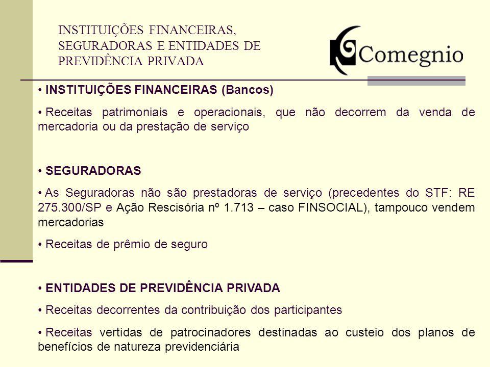 INSTITUIÇÕES FINANCEIRAS, SEGURADORAS E ENTIDADES DE PREVIDÊNCIA PRIVADA