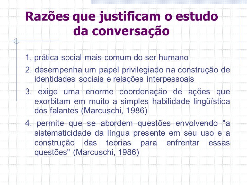 Razões que justificam o estudo da conversação