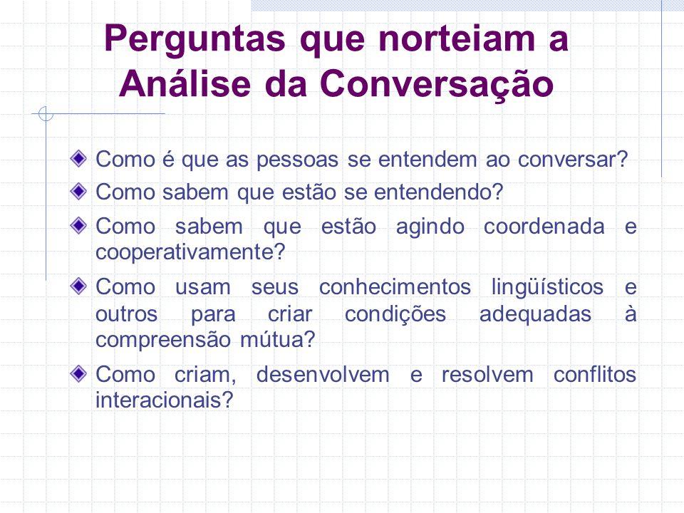 Perguntas que norteiam a Análise da Conversação