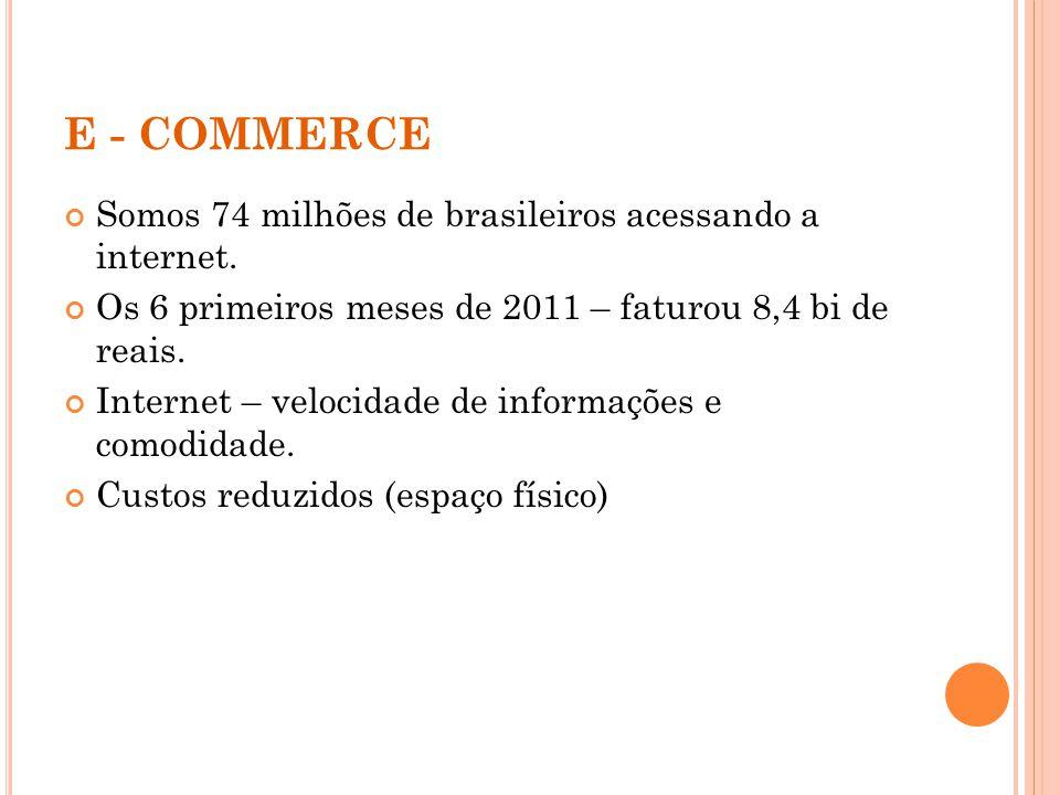 E - COMMERCE Somos 74 milhões de brasileiros acessando a internet.