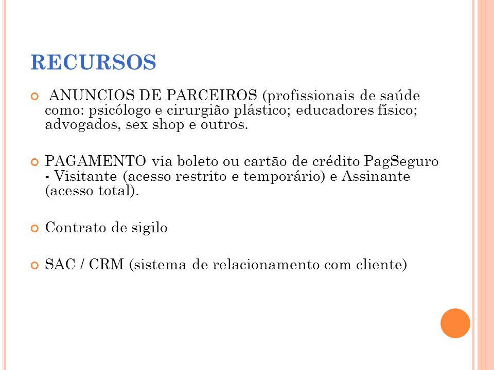 RECURSOS ANUNCIOS DE PARCEIROS (profissionais de saúde como: psicólogo e cirurgião plástico; educadores físico; advogados, sex shop e outros.