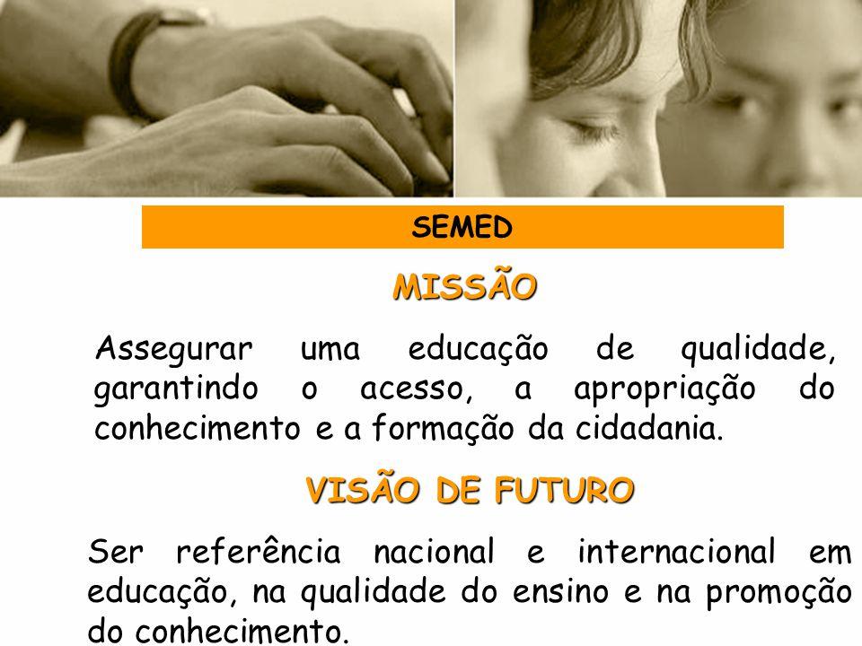 SEMED MISSÃO. Assegurar uma educação de qualidade, garantindo o acesso, a apropriação do conhecimento e a formação da cidadania.