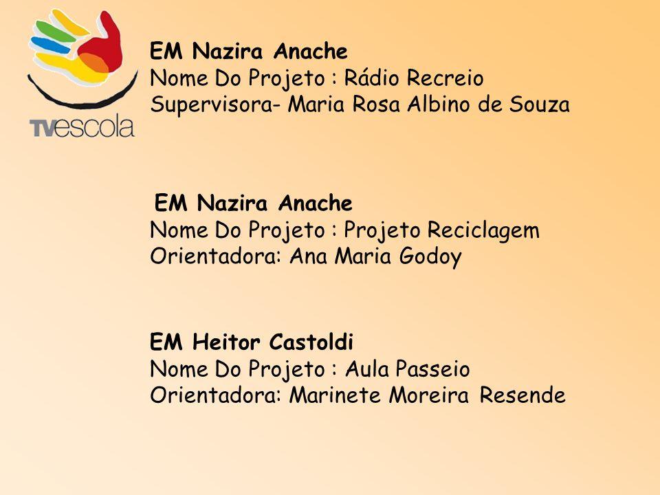 EM Nazira Anache Nome Do Projeto : Rádio Recreio Supervisora- Maria Rosa Albino de Souza. Nome Do Projeto : Projeto Reciclagem.
