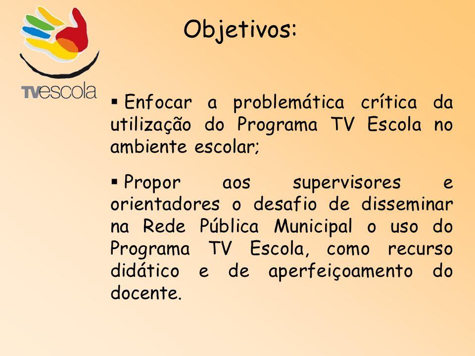 Objetivos: Enfocar a problemática crítica da utilização do Programa TV Escola no ambiente escolar;