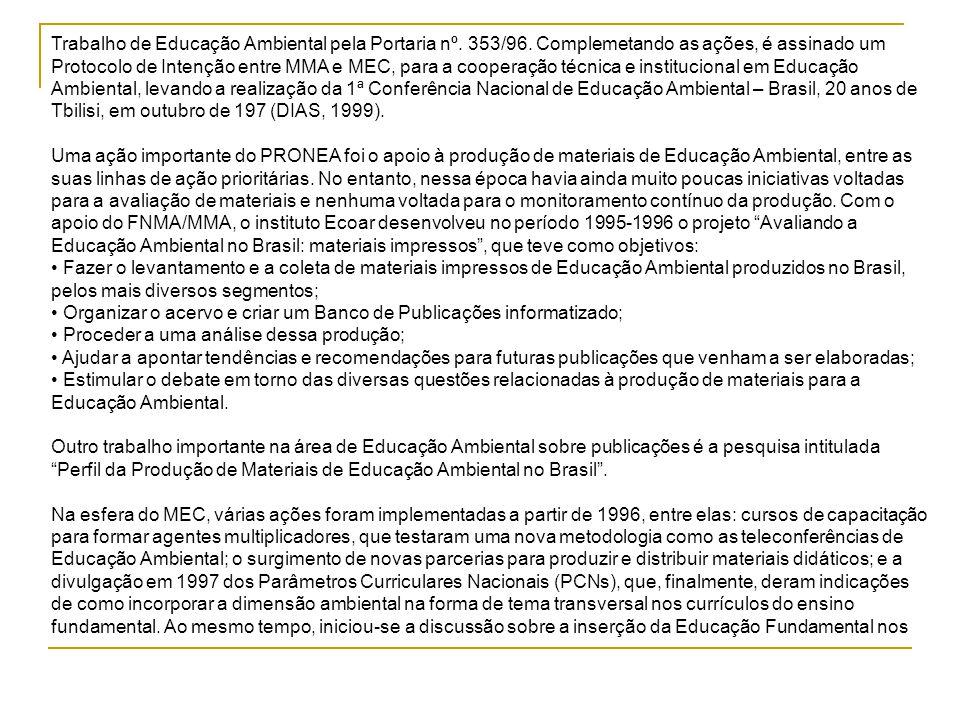 Trabalho de Educação Ambiental pela Portaria nº. 353/96