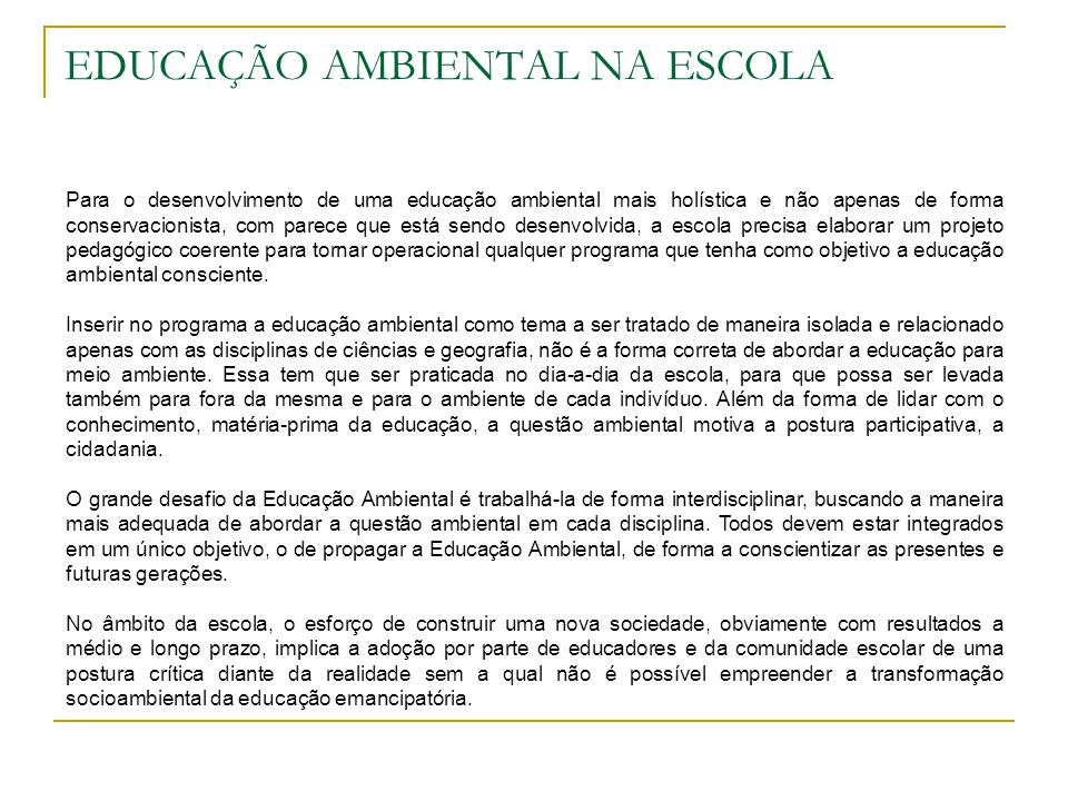EDUCAÇÃO AMBIENTAL NA ESCOLA