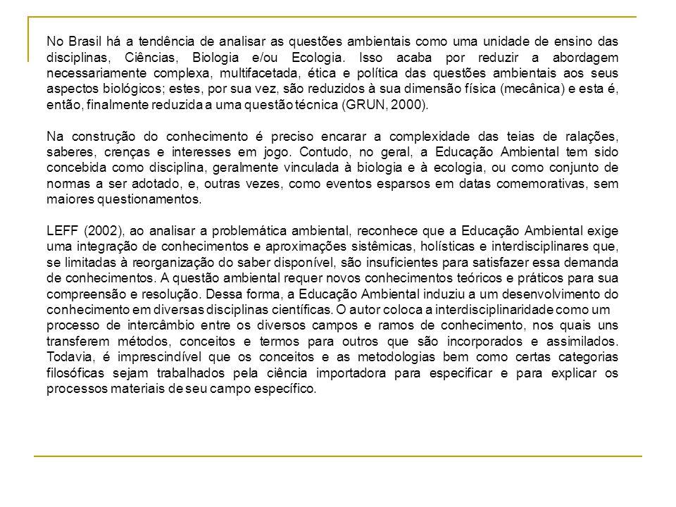 No Brasil há a tendência de analisar as questões ambientais como uma unidade de ensino das disciplinas, Ciências, Biologia e/ou Ecologia. Isso acaba por reduzir a abordagem necessariamente complexa, multifacetada, ética e política das questões ambientais aos seus aspectos biológicos; estes, por sua vez, são reduzidos à sua dimensão física (mecânica) e esta é, então, finalmente reduzida a uma questão técnica (GRUN, 2000).