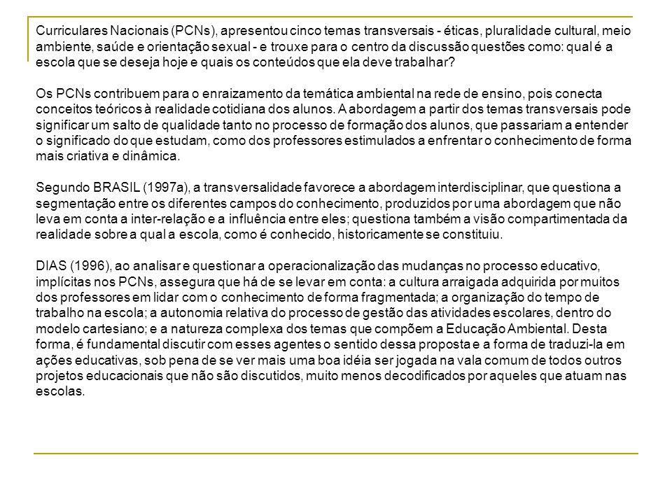 Curriculares Nacionais (PCNs), apresentou cinco temas transversais - éticas, pluralidade cultural, meio