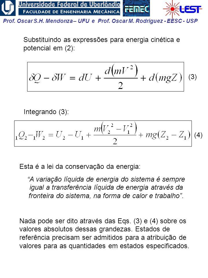 Substituindo as expressões para energia cinética e potencial em (2):