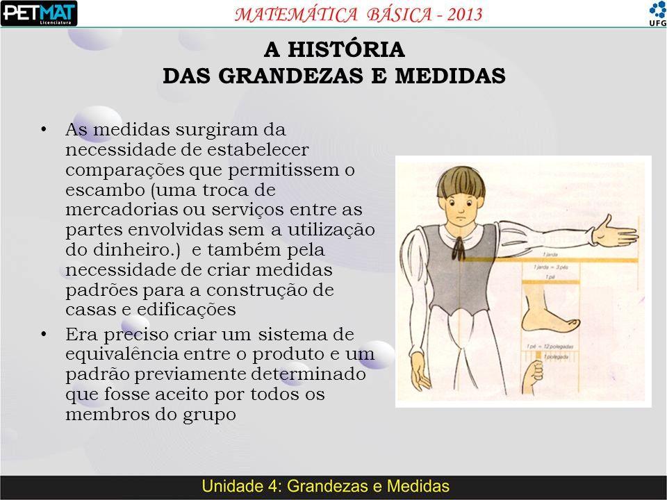 A HISTÓRIA DAS GRANDEZAS E MEDIDAS