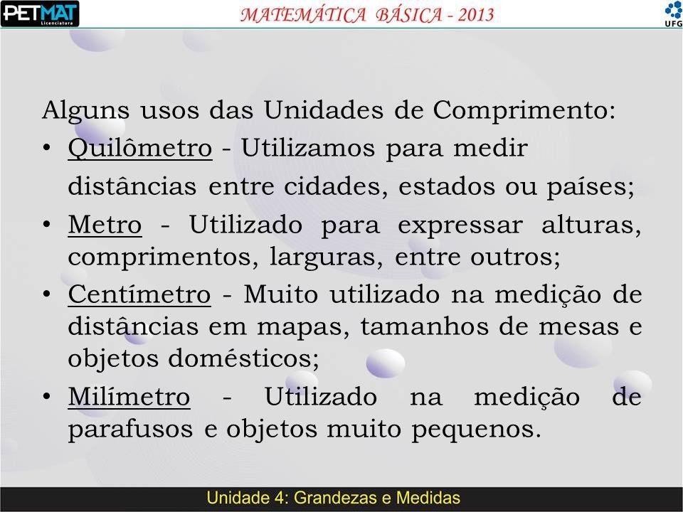 Alguns usos das Unidades de Comprimento: