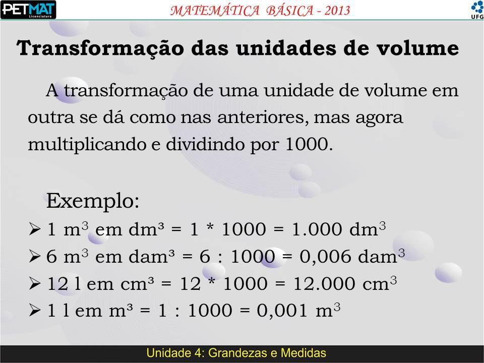 Transformação das unidades de volume