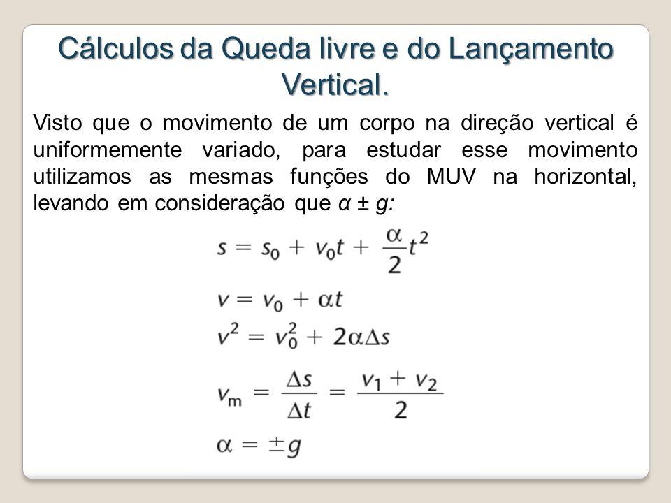 Cálculos da Queda livre e do Lançamento Vertical.