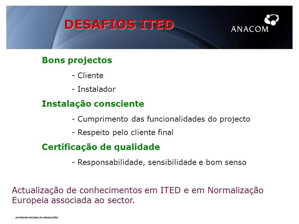 DESAFIOS ITED Bons projectos - Cliente Instalação consciente