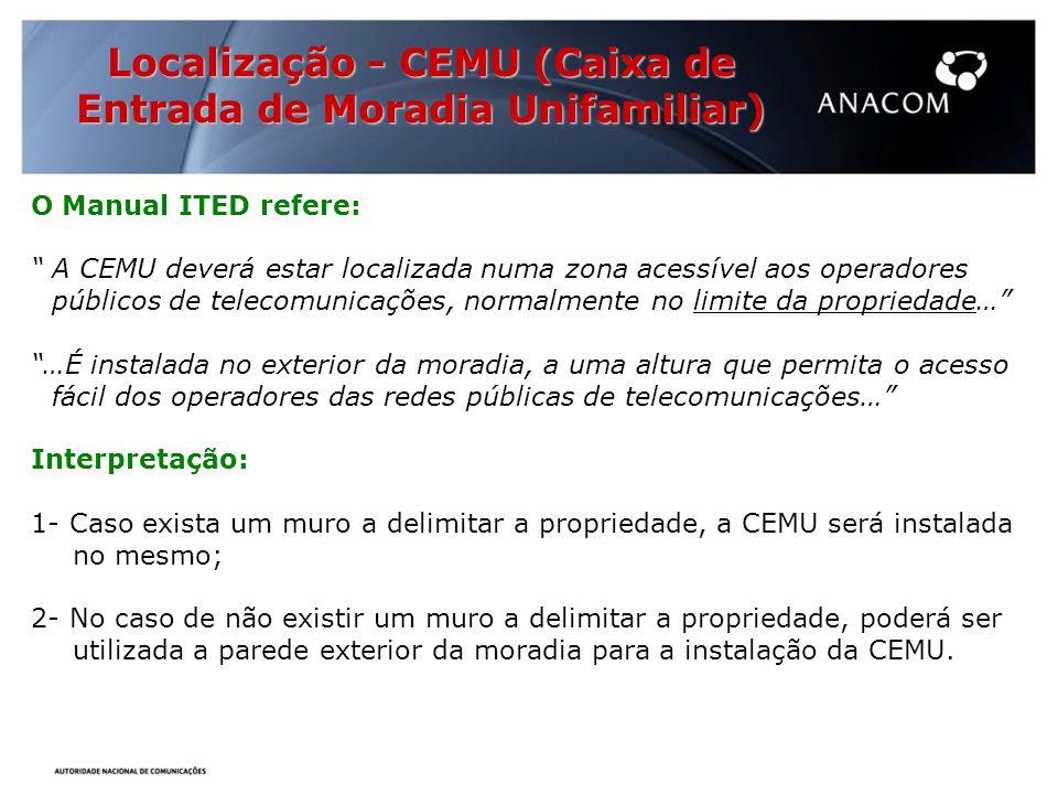 Localização - CEMU (Caixa de Entrada de Moradia Unifamiliar)