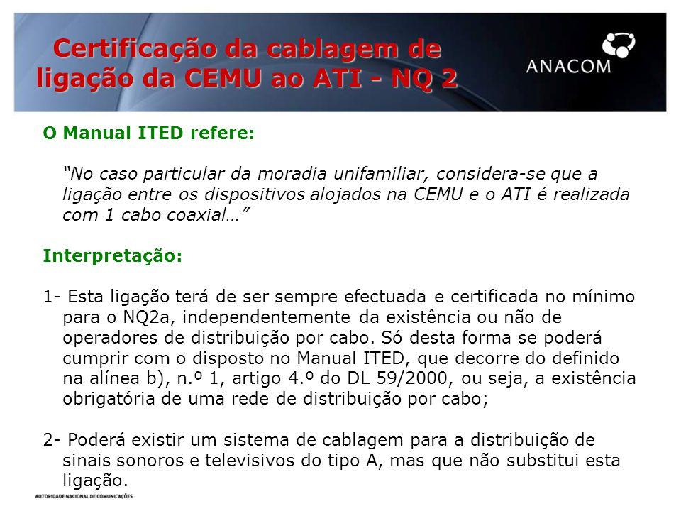 Certificação da cablagem de ligação da CEMU ao ATI - NQ 2