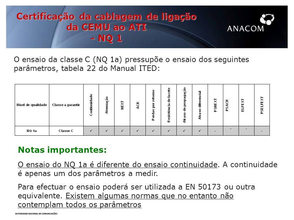 Certificação da cablagem de ligação da CEMU ao ATI - NQ 1