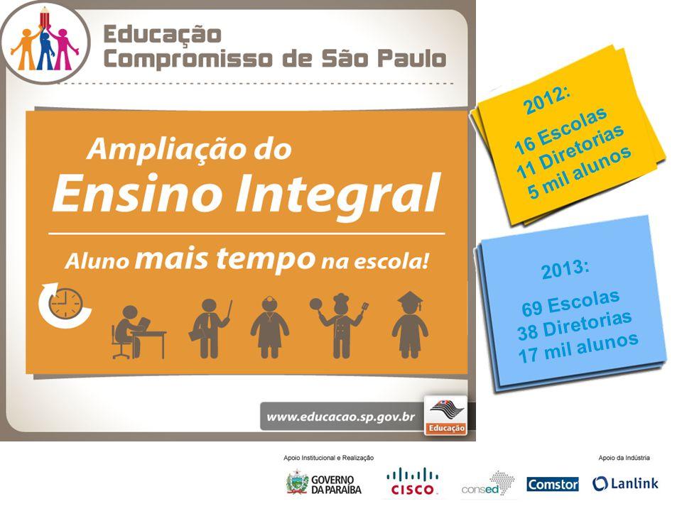 Slide 4 2012: 16 Escolas 11 Diretorias 5 mil alunos 2013: 69 Escolas