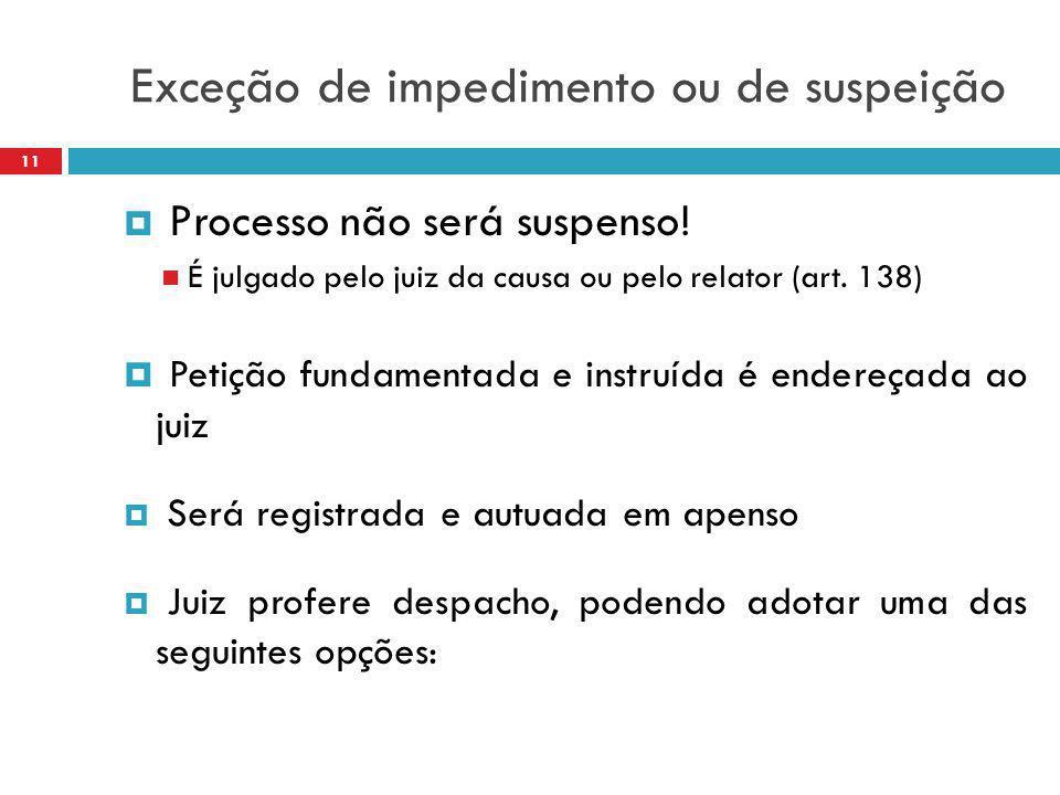 Exceção de impedimento ou de suspeição