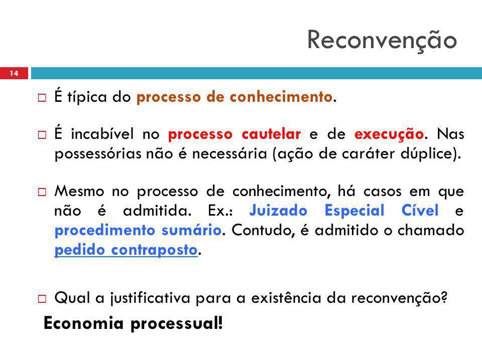 Reconvenção Economia processual! É típica do processo de conhecimento.