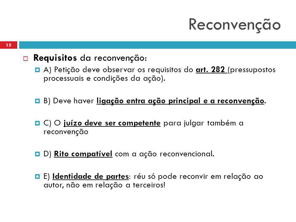 Reconvenção Requisitos da reconvenção: