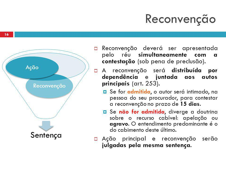 Reconvenção Reconvenção deverá ser apresentada pelo réu simultaneamente com a contestação (sob pena de preclusão).