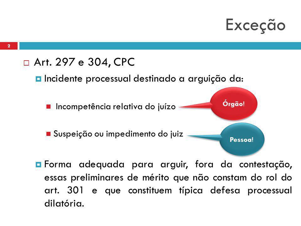 Exceção Art. 297 e 304, CPC. Incidente processual destinado a arguição da: Incompetência relativa do juízo.