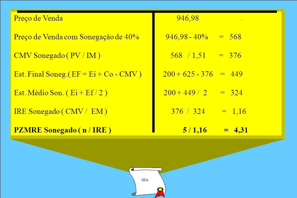 Preço de Venda com Sonegação de 40% 946,98 - 40% = 568