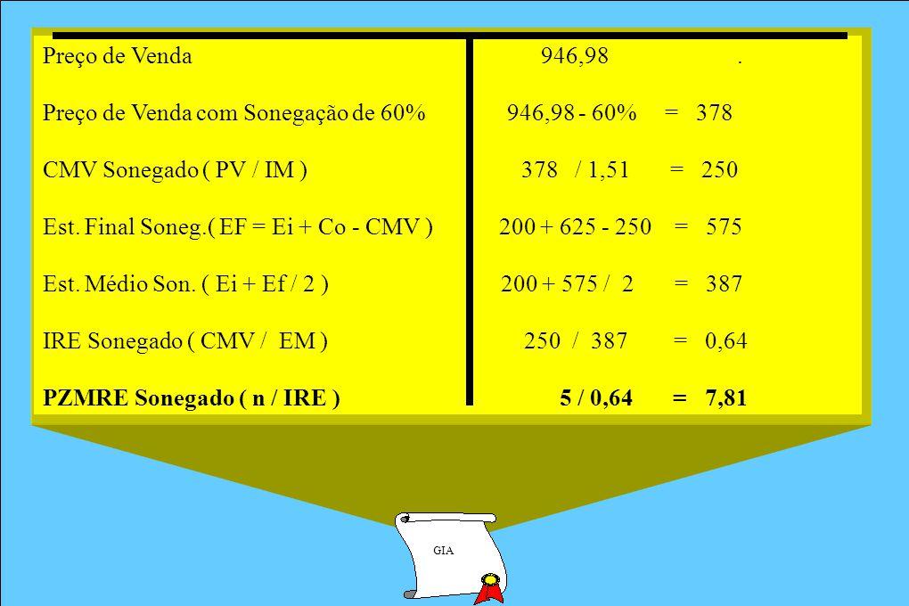 Preço de Venda com Sonegação de 60% 946,98 - 60% = 378