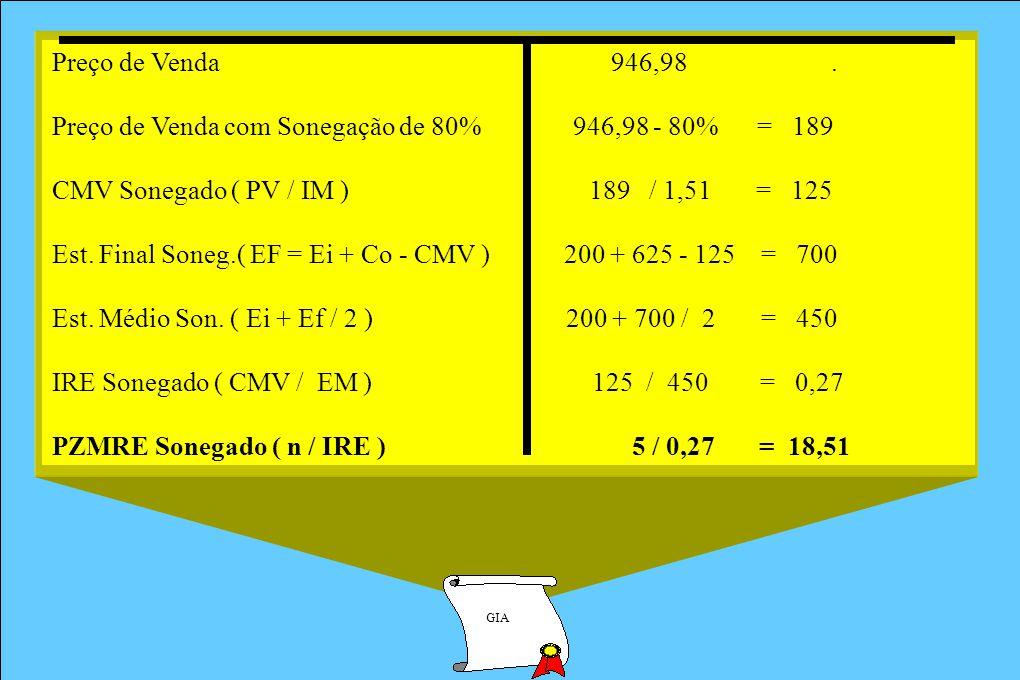 Preço de Venda com Sonegação de 80% 946,98 - 80% = 189