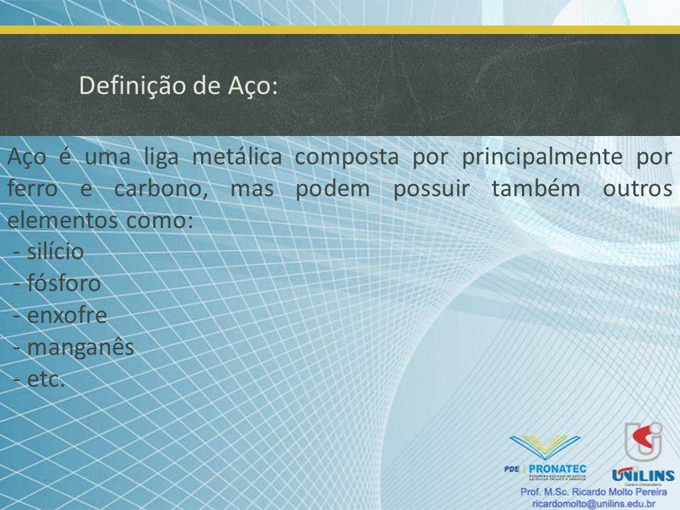 Definição de Aço: Aço é uma liga metálica composta por principalmente por ferro e carbono, mas podem possuir também outros elementos como: