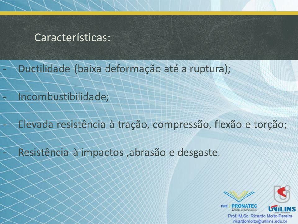 Características: Ductilidade (baixa deformação até a ruptura);