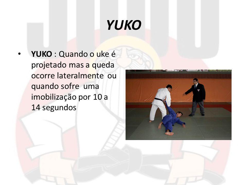 YUKO YUKO : Quando o uke é projetado mas a queda ocorre lateralmente ou quando sofre uma imobilização por 10 a 14 segundos.