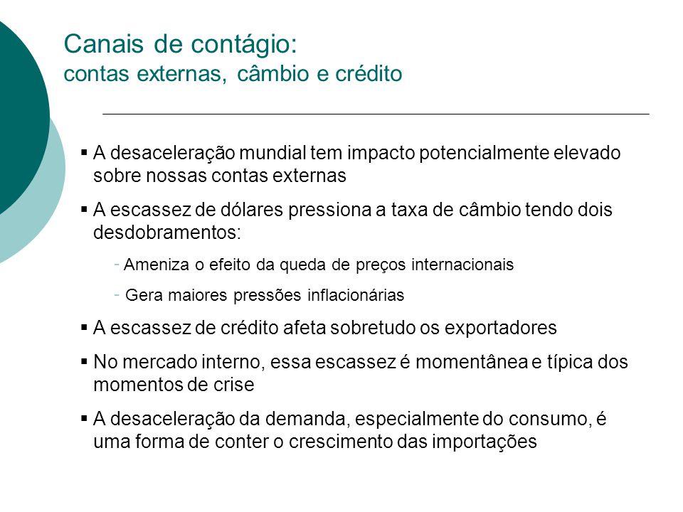 Canais de contágio: contas externas, câmbio e crédito