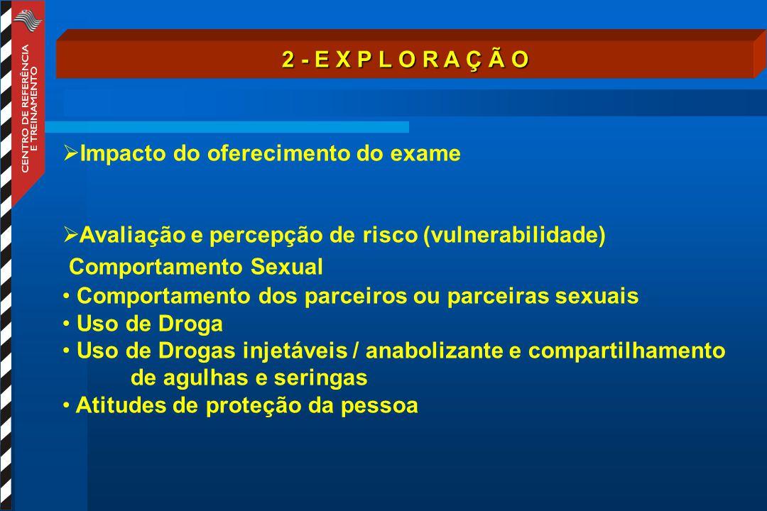 2 - E X P L O R A Ç Ã O Impacto do oferecimento do exame. Avaliação e percepção de risco (vulnerabilidade)