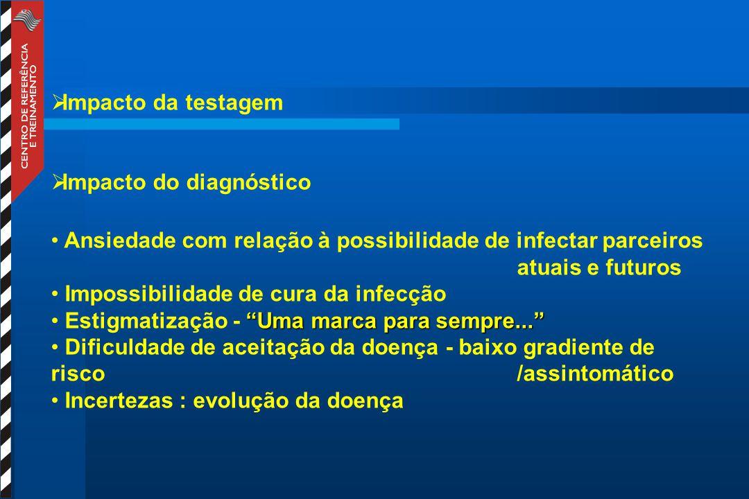 Impacto da testagem Impacto do diagnóstico. Ansiedade com relação à possibilidade de infectar parceiros atuais e futuros.