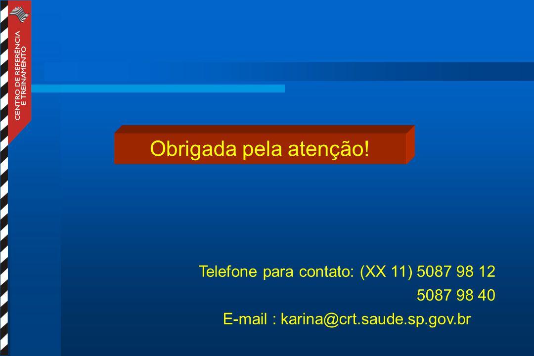 Obrigada pela atenção! Telefone para contato: (XX 11) 5087 98 12