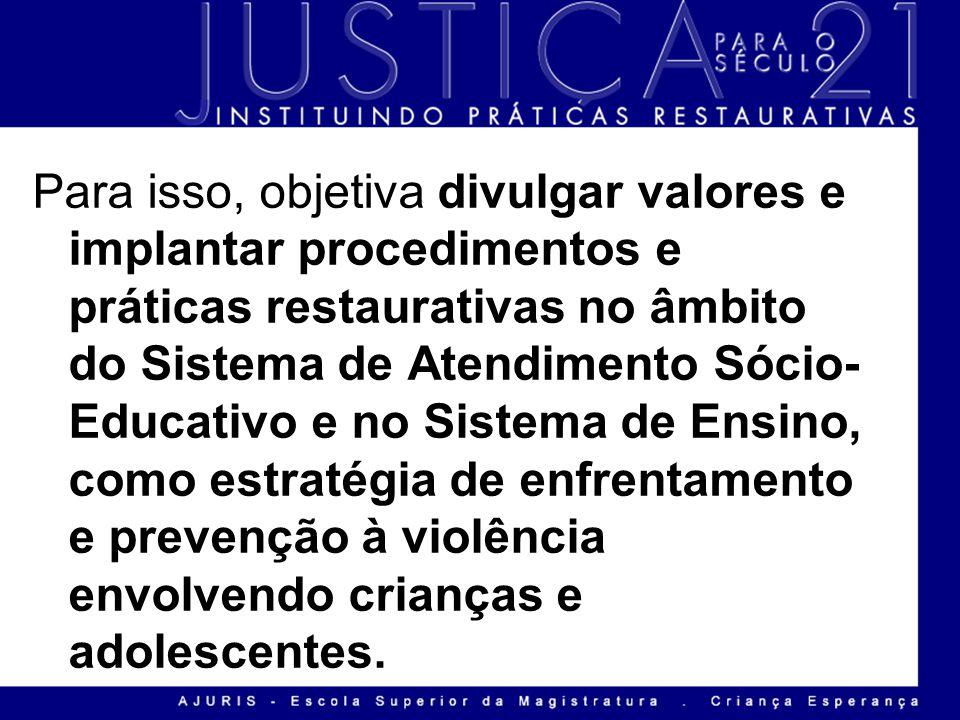 Para isso, objetiva divulgar valores e implantar procedimentos e práticas restaurativas no âmbito do Sistema de Atendimento Sócio-Educativo e no Sistema de Ensino, como estratégia de enfrentamento e prevenção à violência envolvendo crianças e adolescentes.