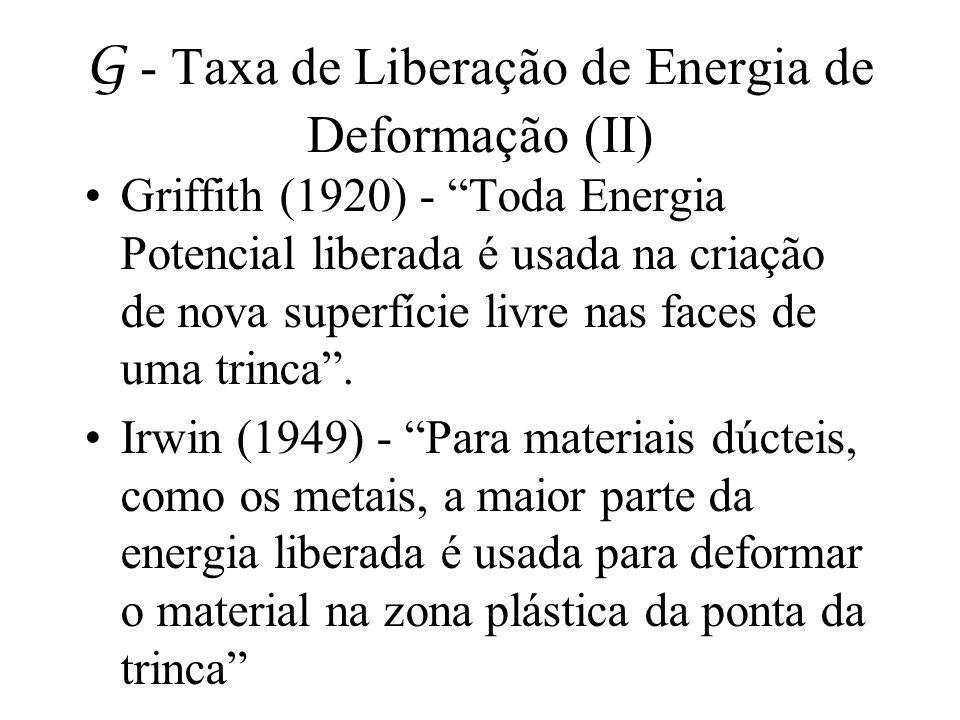 G - Taxa de Liberação de Energia de Deformação (II)