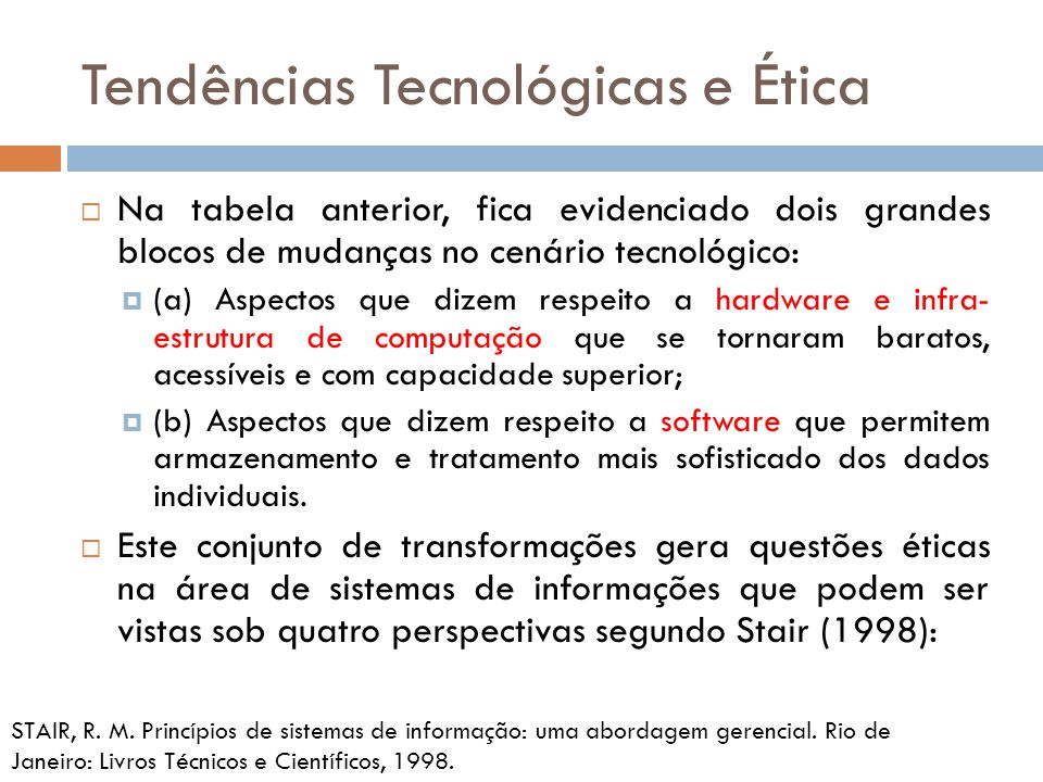 Tendências Tecnológicas e Ética