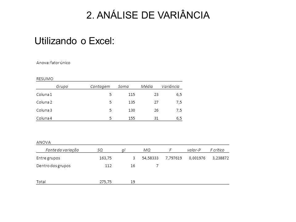 2. ANÁLISE DE VARIÂNCIA Utilizando o Excel: Anova: fator único RESUMO