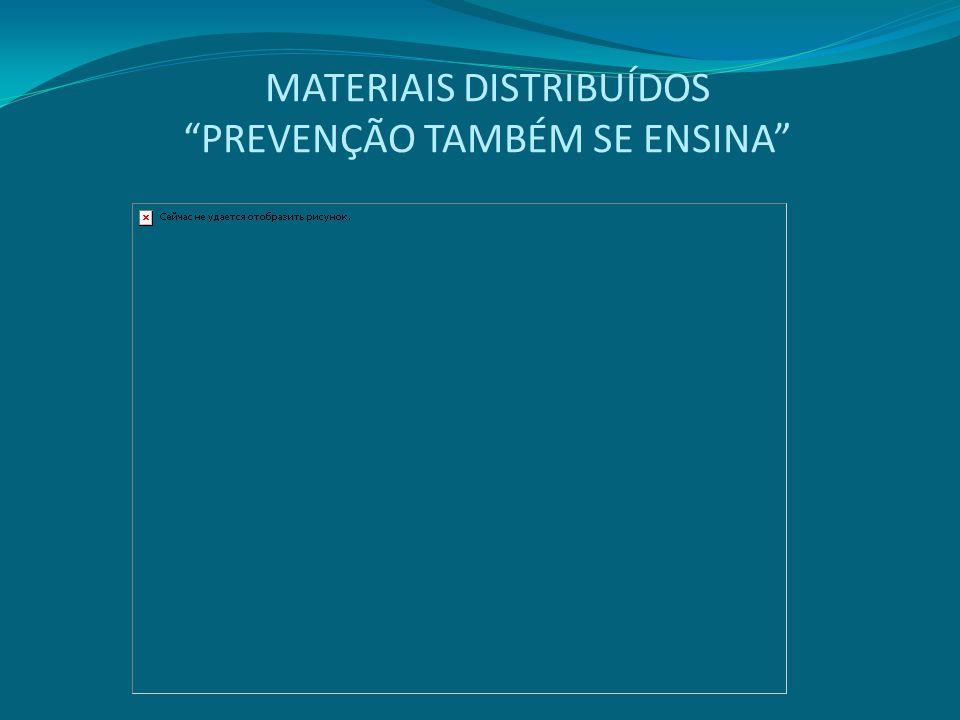 MATERIAIS DISTRIBUÍDOS PREVENÇÃO TAMBÉM SE ENSINA