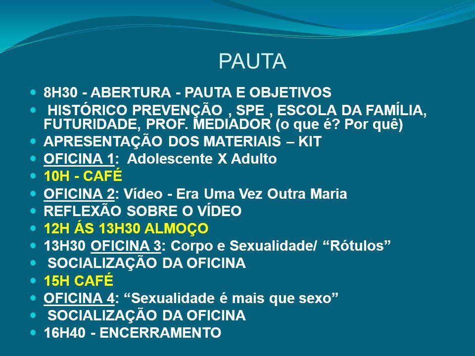 PAUTA 8H30 - ABERTURA - PAUTA E OBJETIVOS